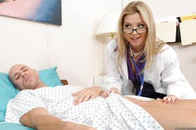 Hot girl in doctor uniform and glasses Sunny Lane fucks patient