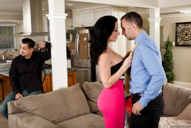 Brunette wife Jayden Jaymes is doing an first class blowjob