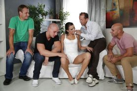 Outstanding gangbang with pretty slender brunette Samantha Johnson