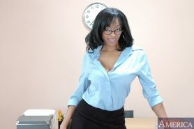 MILF teacher in glasses Carmen Hayes flashing big boobs and shows clit