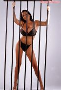 Fervent babe Linsey Dawn McKenzie stripping from black lingerie behind the bars