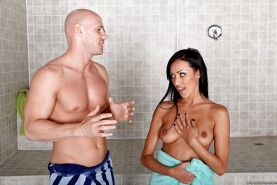 Big tits help coed Breanne Benson get reality ass fucking in shower