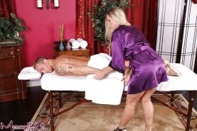 Blonde MILF Devon Lee having sex with customer after giving massage