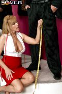 Sexy tailor Nicole Moore stripping her customer to measure his cock with her cunt