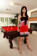 Amateur Latina babe with big boobs Alice strips on the pool table
