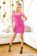 Leggy babe Marsha May strips off dress to expose big tits and nice ass