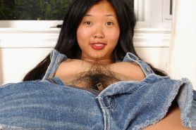 Amateur Asian brunette Janet with tiny tits shows off her hairy pussy #50046489