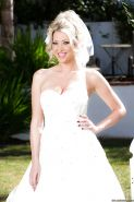 New wife Lexi Lowe shows off bald twat in stockings outdoors on wedding day