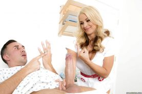 Blonde nurse Sarah Vandella sucking and fucking huge dick when doctor walks in