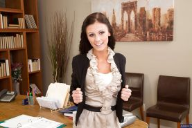 Brunette teen babe Whitney Westgate undresses in her office