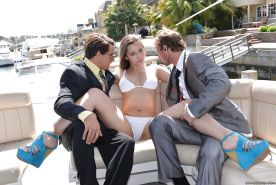 Groupsex with an astounding chick Dani Daniels outdoor on a boat