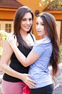 Brunette lesbian girls Raylene & Lola Foxx kissing & naked on the street