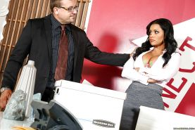 Alluring Latina office worker with massive melons and tattoos takes cumshot