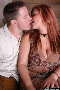 Redhead BBW with tattoos and big boobs rides cock reverse cowgirl style