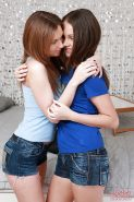 Topnotch lesbian teens Ava and Lizzie practice fingering and humping