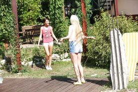 Outdoor action with sweet lesbians named Alexis Brill and Angie Koks