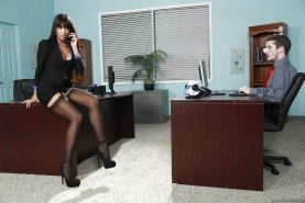 Latina brunette Mercedes Carrera has her big tits teased in office