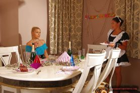 Lustful blonde Kathia Nobili has some lesbian fun with her maid