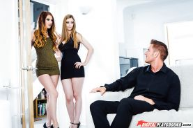 Leggy Euro females Misha Cross and Stella Cox fucking one guy in high heels