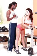 Brunette pornstar Leena Sky giving BBC ball licking BJ before interracial sex