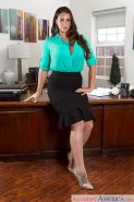 Latina secretary Alison Tyler posing non nude in skirt on desk