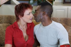 Short-haired cougar with big tits gets her twat shafted with a huge black tool