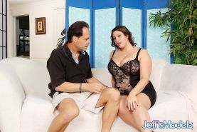 Obese brunette Angel DeLuca freeing saggy boobs from lingerie before sex