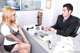 Saucy secretary in stockings Lexi Belle gets banged by her boss