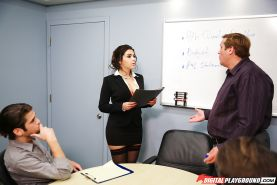Euro boss lady Valentina Nappi having sex with co-worker and courier in office