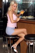 Naturally busty amateur Nicky shoving a beer glass up her pussy