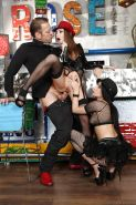 Hot gal in stockings Avril Sun enjoys a threesome groupsex with her friends