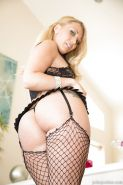 Pornstar AJ Applegate giving BBC ball licking BJ before having sex in fishnets