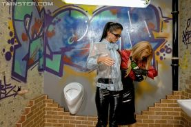 Stacy Silver & Nessa Devil are into slimy fully clothed gloryhole fun