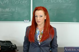 Redheaded MILF teacher Shannon Kelly denudes marvellous boobs