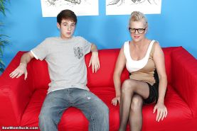 Lascivious mom in glasses blows and jerks a fat boner for some tasty jizz