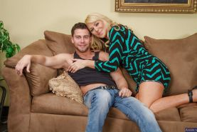 Blonde Sasha Sean suck this dude's hard cock on the cute couch