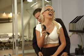Hot blonde secretary in glasses Gigi Allens receiving oral sex on desk