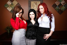 Voluptuous office babes stripping and caressing each other