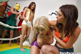 Oiled coed Amy Parks and dorm room gfs wrestle for chance to suck cock