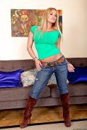 Fervent babe in jeans Shyla Stylez denudes comely ass and big tits