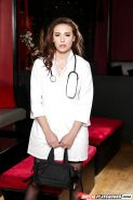 Brunette nurse Casey Calvert undress for nude modeling gig in black nylons
