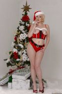 Blonde babe Jenna Ivory and her big tits posing for sexy Christmas pics