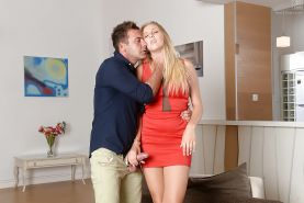 Busty blonde beauty Yana having shaved cunt ate out before fucking big cock