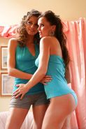 Hot lesbians Silvia Saint & Eufrat Mai kissing and stripping each other