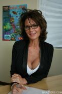Mature teacher in glasses Deauxma shows her sexy round ass