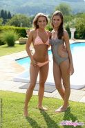 Lesbian pornstar Whitney Conroy poses naked with her gf outdoor