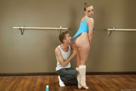 Blond dancer Harley Jade getting her big butt lubed for anal sex with big cock