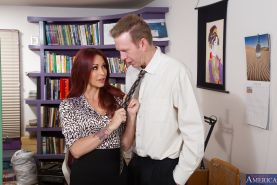 Redhead office slut Monique Alexander gets fucked for a facial cumshot