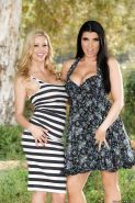 MILFs Romi Rain and Alexis Fawx undress to model nude in garden together