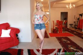 Blonde babe in shorts Charlyse has tiny tits and a young pussy